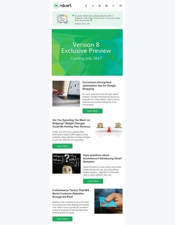 Version 8 release, google shopping tips, boost customer retention and more