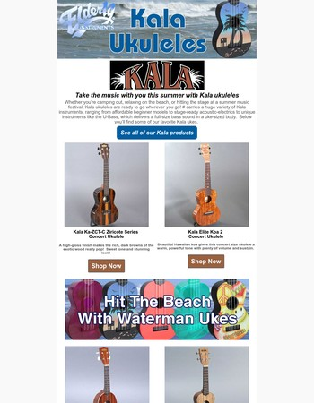 From summer strums to the big stage, Kala ukes have you covered