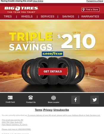 Save up to $210 on Goodyear tires!