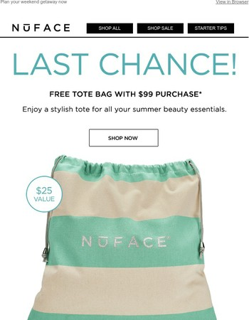 Last Chance for your FREE tote bag