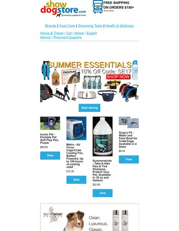 Its here! Your Summer Essentials Coupon @ ShowDogStore.com
