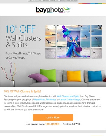 Dramatic Wall Clusters and Splits  - 10% Off