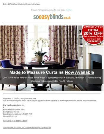 Extra 20% OFF New Curtain Range