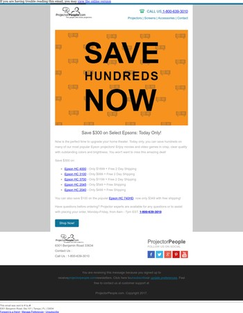 Save Hundreds: Today Only