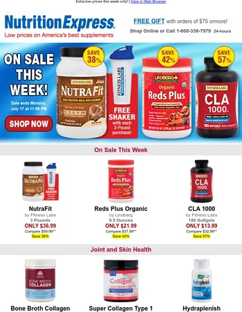 On sale – NutraFit (with Free Shaker), Reds Plus Organic, CLA 1000 – this week only!