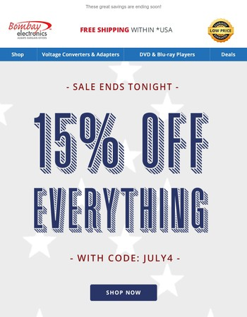 Sale ends tonight! Don't miss out.