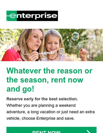 Mary, rent with Enterprise and enjoy the journey