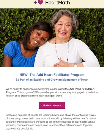 ♥ NEW! The Add Heart Facilitator Program -– Be Part of a Growing Momentum of Heart