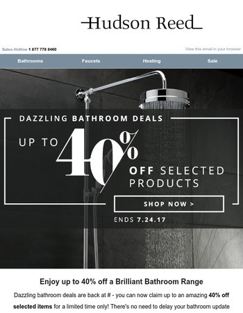 Dazzling Bathroom Discounts - Up to 40% Off Selected Items
