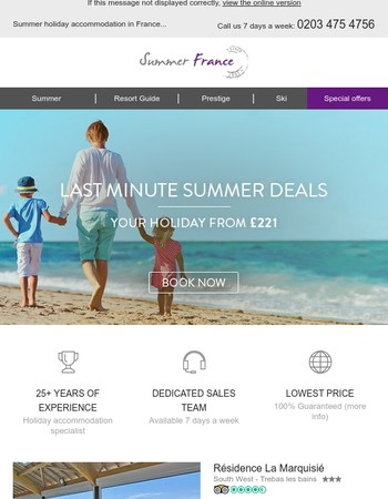 Last minute holidays in France from £221