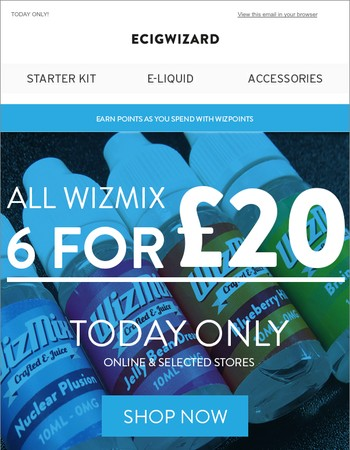 6 for £20 on all Wizmix | Today Only!
