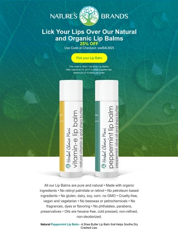 Our Natural Organic Lip Balms at a Lip-Smacking Price