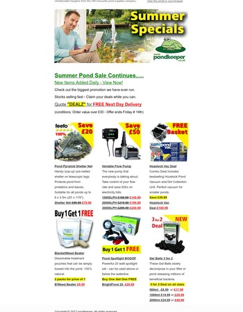 Pond Summer Sale - Further Garden Bargains not to be missed