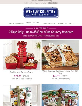 2 Days Only - up to 35% off Wine Country favorites