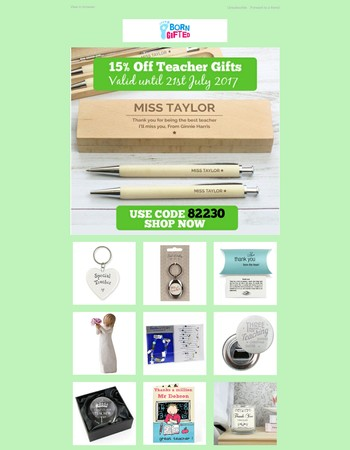 15% Off All Teacher Thank You Gifts - Use Code 82230