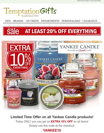 Ends Tonight! EXTRA 10% OFF ALL Yankee Candle products until midnight!