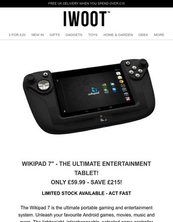 Wikipad Ultimate Entertainment Tablet - Save £215! [Act Fast] | BBQ Toolbox Back In Stock!