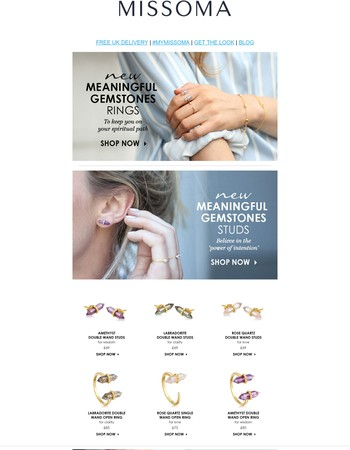 NEW!! The Meaningful Gemstones Rings and Studs are here!