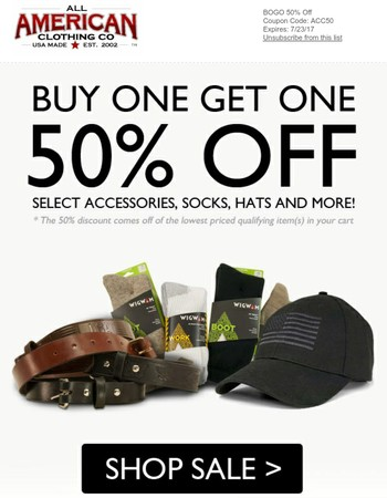 Buy 1 Get 1 50% Off Sale Going on Now