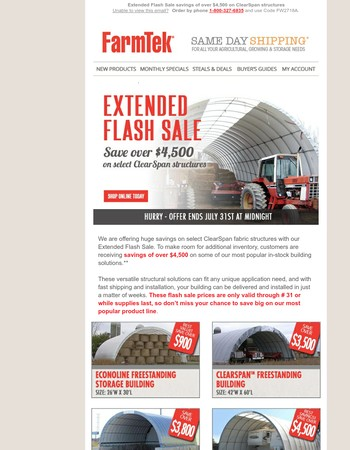 Flash Sale - save over $4,500 on ClearSpan structures