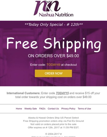 Today Only | Free Shipping at Nashua Nutrition - Ends at Midnight!