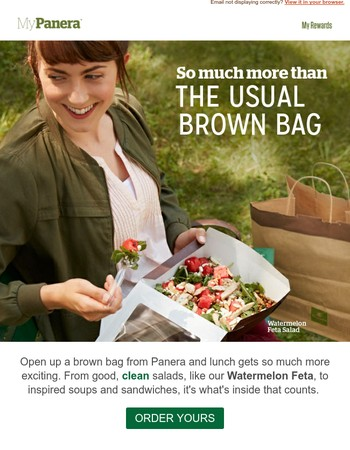 Mary, it's time to upgrade that brown bag.
