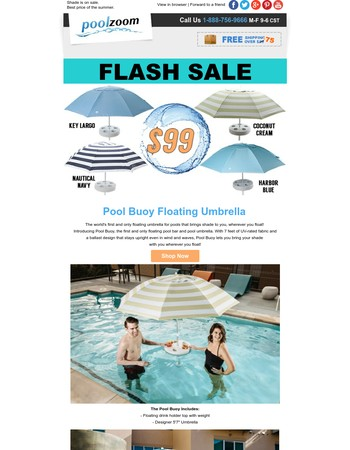 Lowest price for shade this summer. Save on Pool Buoy