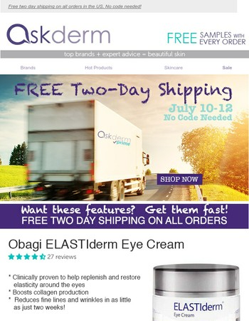 Free Two Day Shipping Ends Today!