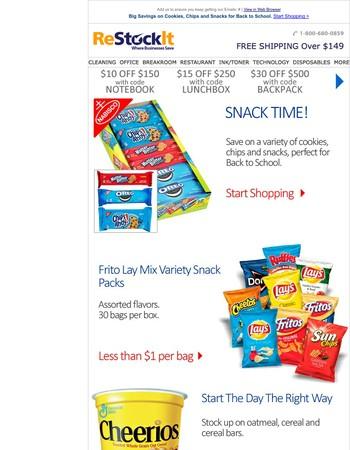 Big savings on cookies, chips, snacks and more!