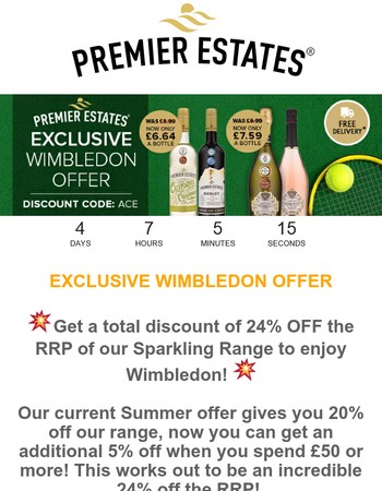 Wimbledon Offer: Get up to 24% OFF our RRP!