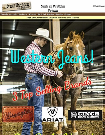 Wrangler, Ariat, & Cinch Western Jeans! On Sale Today at Overallwarehouse