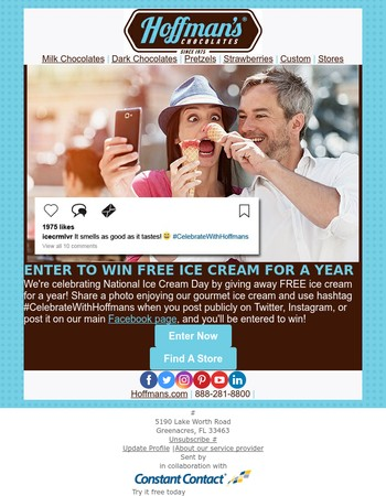 Enter to win FREE ice cream for a year!