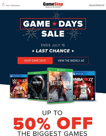 LAST CHANCE: Up to 50% Off the Biggest Games!