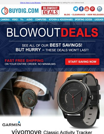 Today's Blowout Deals: Garmin Vivomove Activity Tracker $59.99 | LG Wireless Surround Sound $129.99 + Fast FREE Shipping!
