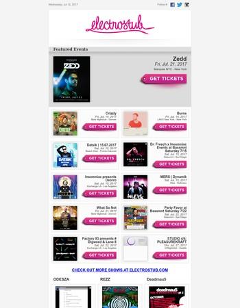 Zedd, Datsik, Deorro, What So Not, Party Favor & more