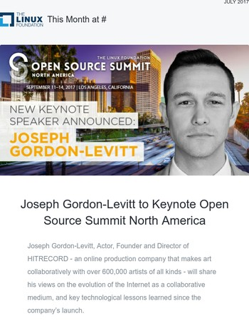 Joseph Gordon-Levitt to Keynote Open Source Summit North America, Open Source Jobs Survey and More