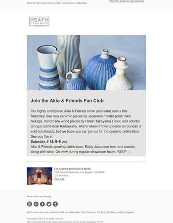 Reminder: This Saturday, See Akio & Friends at Heath LA