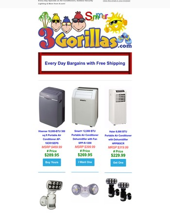 Deep Discounts On Summer Favorites: Air Conditioners, Outdoor Lighting & More  from 3Gorillas.com