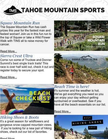Tahoe Summer Fun - Run, Hike, Hit the Beach!