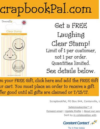 FREE Laughing Clear Stamp with order, see email for details!