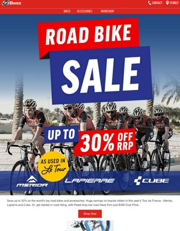 Road bikes from $399 and up to 30% off in the Road Bike Sale
