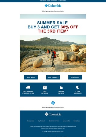 Summer Sale: Buy 3 and get 30% off the 3rd item