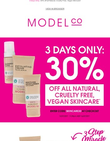 3 Days Only: 30% off all Natural, Cruelty Free, Vegan Skincare!