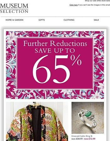 Further reductions | Now save up to 65%