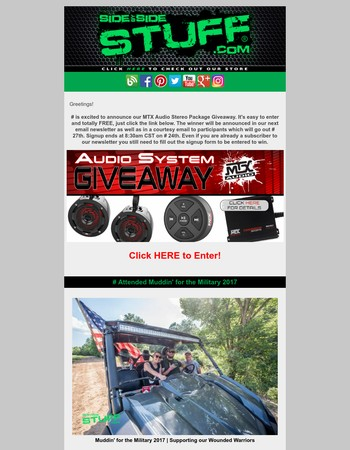 MTX Audio Stereo Package Giveaway | Muddin' for the Military | & More