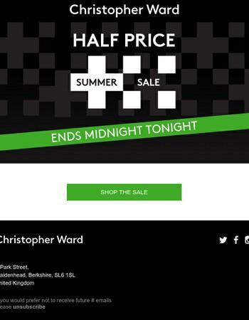 Christopher Ward Half Price Summer Sale  – Ends Midnight Tonight