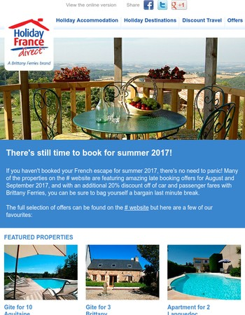 Holiday France Direct – There's still time to book for summer 2017!