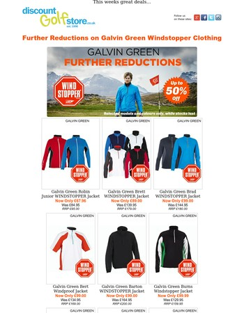 Further Reductions on Galvin Green Windstopper Clothing