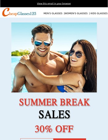 Get Ready For Summer Break, 30% off All Sunglasses