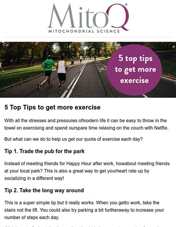 5 Top Tips to get more exercise